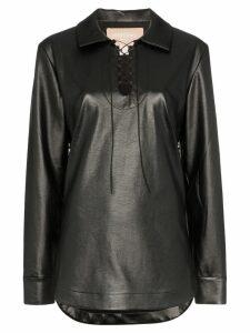 Matériel faux leather lace-up top - Black