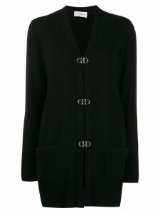 Salvatore Ferragamo Gancini buckle long cardigan - Black