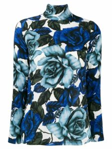 Prada turtleneck rose print top - White