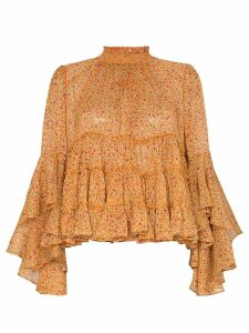 byTiMo tiered ruffle floral blouse - ORANGE