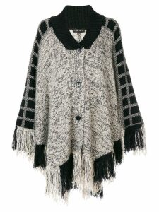 Etro check detail fringed cape - Black