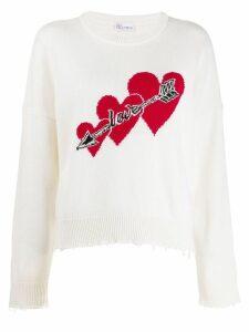 Red Valentino love hearts sweater - White