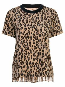 Sacai leopard print knit T-shirt - Brown