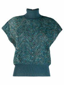 Brunello Cucinelli chevron-knit sweater - Blue