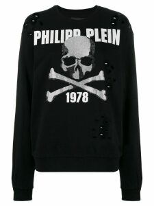Philipp Plein Rhinestone Skull holey jumper - Black