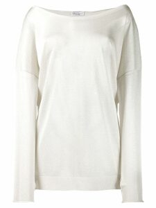 Brunello Cucinelli off shoulder knit top - NEUTRALS