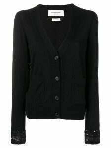 Thom Browne Sequin Cuff Wool Cardigan - Black