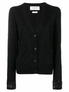 Thom Browne Sequin Cuff Wool Cardigan - Black