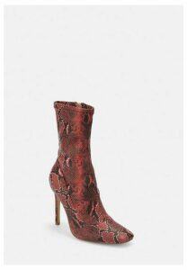 Red Snake Print Stiletto Heel Sock Boots, Red
