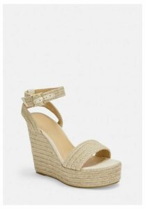 Beige Woven Wedge Sandals, Beige
