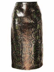 Nº21 snakeskin effect sequinned skirt - GOLD