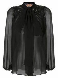 Nº21 sheer effect pussy bow blouse - Black