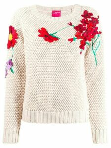 Blumarine floral embroidered sweatshirt - Neutrals