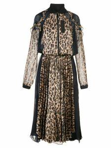 Sacai leopard print bomber maxi dress - Brown
