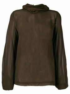 Erika Cavallini draped neck sheer shirt - Brown