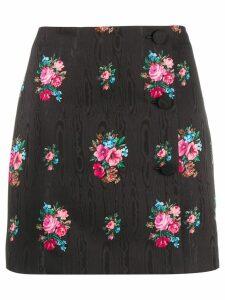 MSGM flower print mini skirt - Black