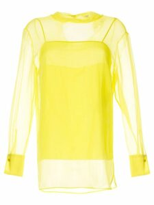 Emilio Pucci bright yellow translucid blouse
