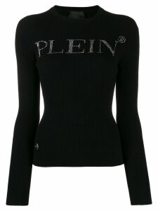 Philipp Plein rhinestone logo sweater - Black