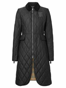 Burberry Monogram Motif Quilted Riding Coat - Black