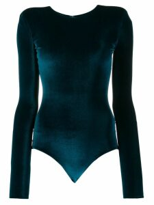 Alexandre Vauthier long-sleeved velvet bodysuit - Blue