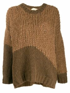 Maison Flaneur colour block jumper - Brown