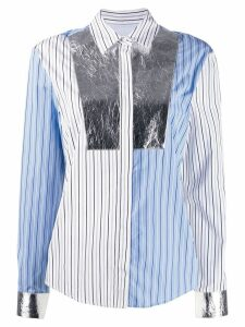 MSGM patchwork striped shirt - SILVER