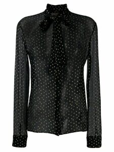 Saint Laurent star motif pussybow blouse - Black