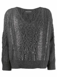 Ermanno Scervino Glass-embellished knit sweater - Grey