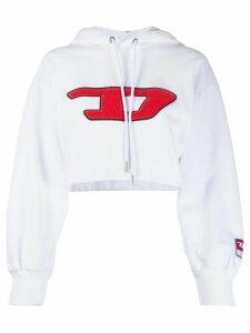 Diesel logo cropped hoodie - White