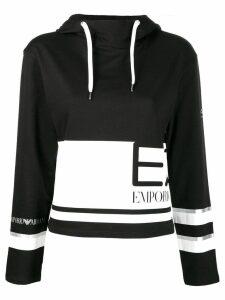 Ea7 Emporio Armani two-tone logo hoodie - Black