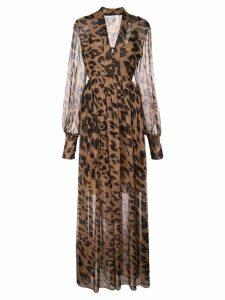 Oscar de la Renta leopard print maxi dress - Brown