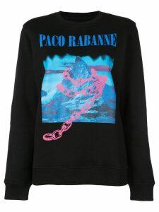 Paco Rabanne printed crew neck sweatshirt - Black