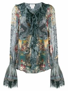 Camilla printed long sleeve blouse - Blue