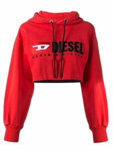 Diesel Cropped hoodie with denim division logo - Red