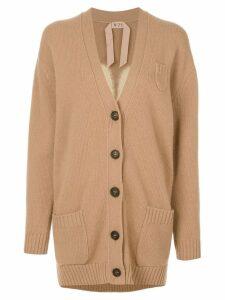 Nº21 embellished clover leaf cardigan - Neutrals