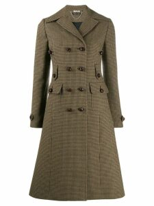 Miu Miu checked flared coat - NEUTRALS