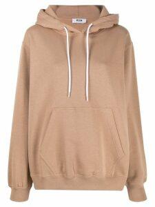 MSGM oversized logo print hoodie - Brown