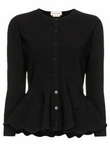 Alexander McQueen slit detail peplum cardigan - Black