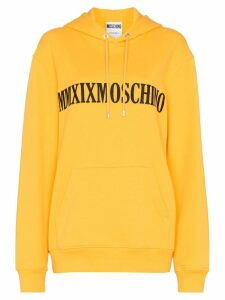 Moschino logo-embroidered oversized hoodie - Yellow