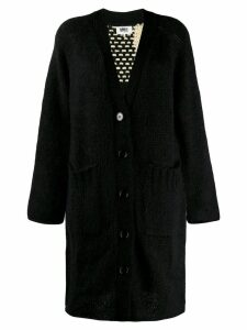 Mm6 Maison Margiela longline check knit cardigan - Black