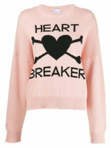 Red Valentino heart motif knitted jumper - PINK