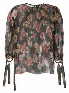 Luisa Cerano floral print silk blouse - Black