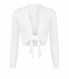 Cameo Rose White Crochet Cardigan New Look