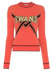 Off-White Swans intarsia lurex sweater - Red