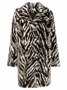 P.A.R.O.S.H. zebra print faux fur coat - Brown