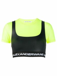 T By Alexander Wang colour block crop top - Black