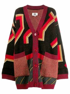 Mm6 Maison Margiela geometric print cardigan coat - Red