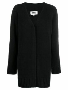 Mm6 Maison Margiela longline V-neck cardigan - Black