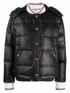 Thom Browne detachable hood puffer jacket - Black