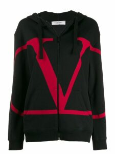 Valentino VLOGO full-zipped hoodie - Black